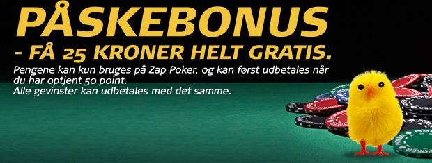 Påskebonus: Få 25 kr. gratis til Zap Poker hos Danske Spil